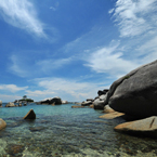 boulders, big rock, stone, water, beach, sea side, blue sky, sunny day, nature, photo, free photo, stock photos, stock images for free, royalty-free image, royalty free stock, stock images photos, stock photos free images, download free images, free images download