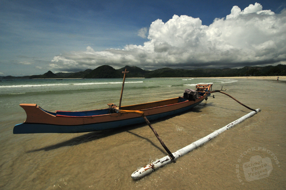 canoe, boat, sandy beach, seaside, cumulonimbus cloud, sunny sky, blue sky, tropical island, panorama, nature photo, free stock photo, free picture, stock photography, royalty-free image