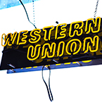 Western Union logo, Western Union neon sign, Western Union brand, corporate identity images, logo photos, brand pictures, logo mark, free photo, stock photos, free images, royalty-free image, photography