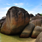 boulders, big rock, stone, water, beach, nature photo, free stock photo, free picture, stock photography, royalty-free image