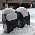 USPS collection boxes, mailboxes, snow pile, blizzard, snowstorm, winter season, nature photo, free stock photo, free picture, stock photography, royalty-free image