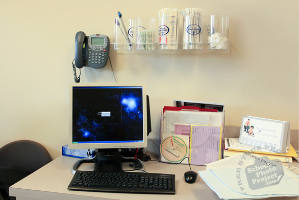 computer desk, health clinic, doctor clinic, medical equipment, doctor desk, free stock photo, picture, free images download, stock photography, royalty-free image
