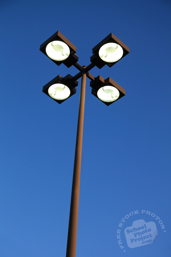 parking lot lighting, floodlights, street light, daily objects, free stock photo, picture, free images download, stock photography, royalty-free image