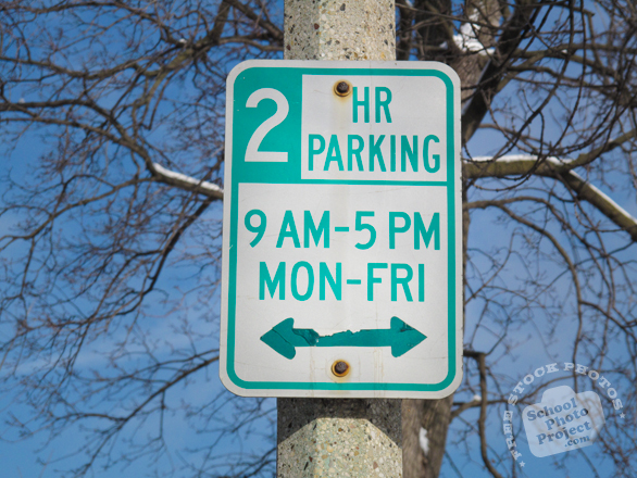 2 hour parking, parking sign, street sign, traffic sign, free stock photo, free picture, stock photography, royalty-free image