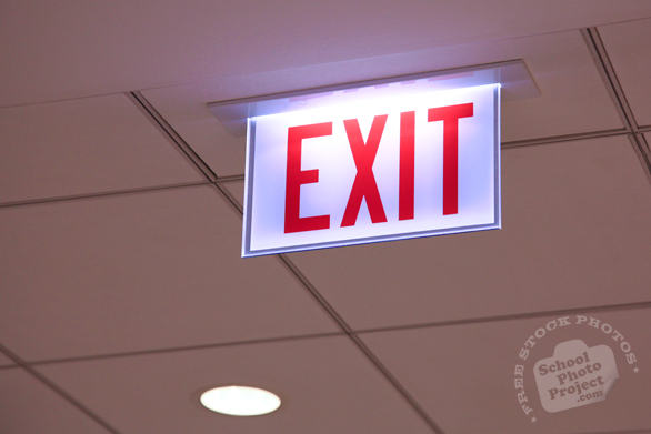 exit sign, building safety sign, emergency exit sign, free stock photo, free picture, stock photography, royalty-free image