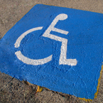 disabled parking sign, handicap sign, wheelchair sign, disability parking space, roadsign, free stock photo, free picture, stock photography, stock images, royalty-free image