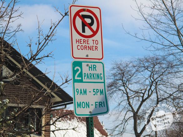 no parking sign, no parking here to corner sign, 2 hour parking, street sign, traffic sign, free stock photo, free picture, stock photography, royalty-free image