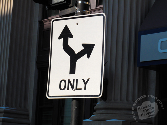 only sign, arrow sign, curve-turn sign, directional sign, road sign, traffic sign, free stock photo, free picture, stock photography, royalty-free image