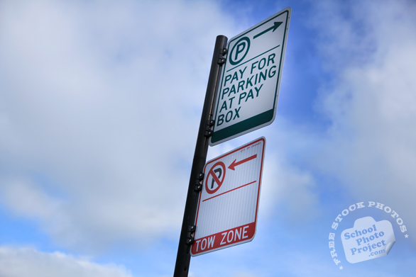 pay-for-parking at pay box sign, parking sign, no parking sign, tow zone sign, street sign, traffic sign, free stock photo, free picture, stock photography, royalty-free image