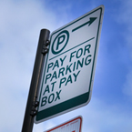 pay-for-parking at pay box sign, parking sign, no parking sign, tow zone sign, road sign, traffic sign, free stock photo, free picture, stock photography, royalty-free image
