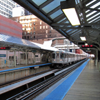 train, train stop, train track, CTA Chicago, night train, public transportation, free photo, stock photo, free picture, stock photography, royalty-free image