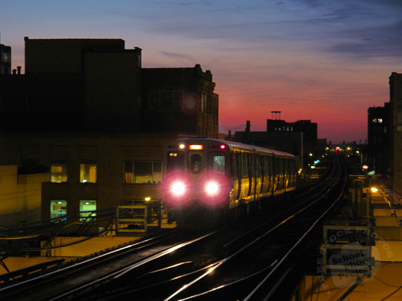 train, train stop, train track, CTA Chicago, night train, public transportation, vehicle, free photo, stock photo, free picture, stock photography, royalty-free image